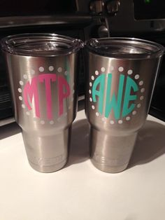 YETI Cups Monogrammed Laser Etched  Oz By Jwgifts On Etsy - Vinyl letters for cups