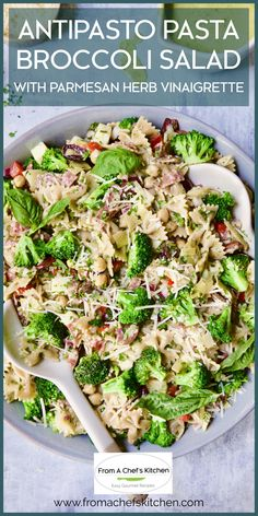 Antipasto Pasta Broccoli Salad with Parmesan Herb Vinaigrette is the perfect addition to your backyard barbecue, picnic, pot luck or just an easy, delicious grab-and-go lunch!