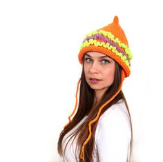 Orange Tatarka Hand Knitted Hat Pointed Hat Women Hat by Solandia