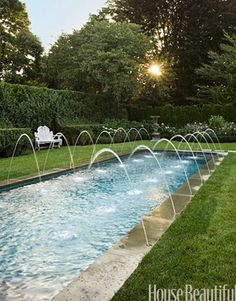 this is a cool idea for the backyard and an interesting way to keep the water level in the pool correct. Passing this one along to the hubster. Could be done with sprinklers placed strategically in the lawn and garden.