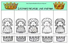 associer reines et couronnes même motif Winter Activities, Kindergarten Activities, Preschool, Prince Dragon, Royal Theme, Knight In Shining Armor, School Themes, Epiphany, Paper Dolls