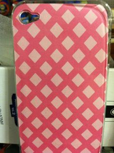 Pink background with diamond shapes for iPhone 4/4s and case included is $10.00 -MK Creations