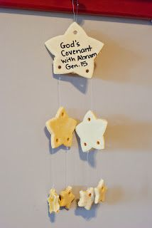 Salt dough stars mobile for Abraham. Make stars ahead of time. Paint and hang for craft.