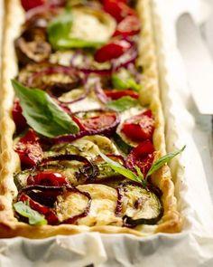 Hartige taart pesto geitenkaas groenten