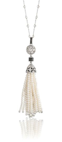 """London Jewelers Collection Sterling Silver and Cultured Pearl Tassel Necklace with Black and White Diamonds. The Tassel is on a Pearl Chain Link Necklace. The Necklace Measures 36"""". There is a Jump Ring on the Necklace so it can be Worn at 34"""". The Total Diamond Weight is .22ctw. $399.00 (This is a VERY in demand necklace at London Jewelers!)"""