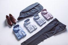 Garnitur Business Mix Szary, Buty Hilton,  Koszula Miramar, Koszula Almada, Koszula Parla, Koszula Espada