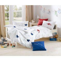 Dinsaurier Bettwäsche für Kinder >> Lorena Mako-Satin Kinder-Bettwäsche Dinosaurier Rot oder Blau