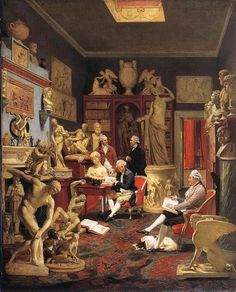 Johann Zoffany, Charles Towneley in his Sculpture Gallery, 1782, Oil on canvas, 127 x 102 cm, Art Gallery and Museum, Burnley. The excavation sites attracted the British travelers on the Grand Tour, and soon a fever for collecting developed that dominated elegant taste throughout Europe. Charles Towneley (1737-1805) was the most famous of the many English collectors.