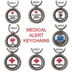 Medical Alert Key Chain, Zipper Pull, Diabetes, Epilepsy, Autism, CPR, Type 2 #Unbranded