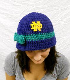 69ea88ef2c8 Notre Dame Football Inspired Ladies Crochet Cloche by CDBSTUDIO