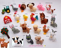 BOERDERIJDIEREN voelde magneten - prijs per 1 stuk - Maak je eigen set - kip, schaap, koe, stier, paard, ezel, geit, Turkije, Haan, hond, kat, varken, Ram, Chick