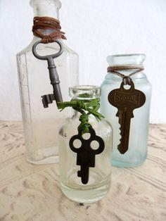Three Old Vintage Medicine #Bottles With #SkeletonKeys by tuscanroad