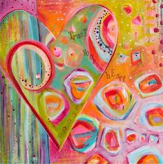 Colorful Heart & LOVE Abstract Fine Art Print by LauraGaffke, $25.00