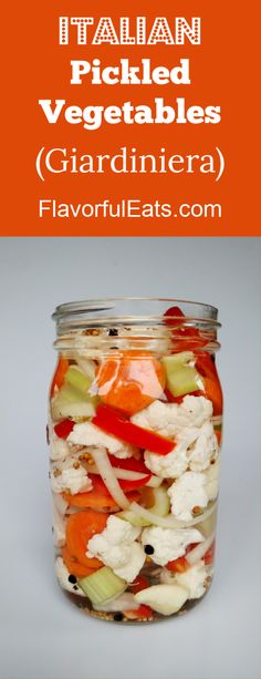 Italian Pickled Vegetables (Giardiniera) is the perfect pickled topping for salads sandwiches antipasto platters and more! Italian Pickled Vegetables (Giardiniera) is the perfect pickled topping for salads sandwiches antipasto platters and more! Vegetable Recipes, Vegetarian Recipes, Healthy Recipes, Vegetable Salad, Veggie Dishes, Side Dishes, Great Recipes, Favorite Recipes, Pesto