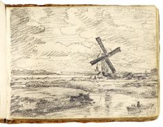 A windmill by a river. A sketchbook by John Constable    John Constable used this sketchbook during 1814. Constable filled his pocket sketchbooks with figures and scenery, many of which reappear in his paintings. A selection of images from the sketchbook are shown on this page.    Museum no. Sketchbook 1259-1888  Actual size 11.3cm x 8.6cm