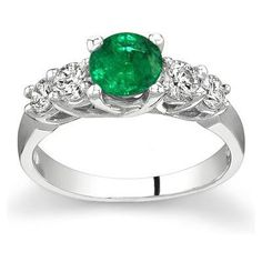 5 Stone Emerald and Diamond Ring