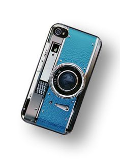iPhone Case Retro Teal Blue Camera Hard Phone by TheCuriousCaseLLC. $18.00, via Etsy.