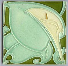 Art Nouveau Majolica - CALLA on GREEN - 1890 to 1910 - Ceramic Tile
