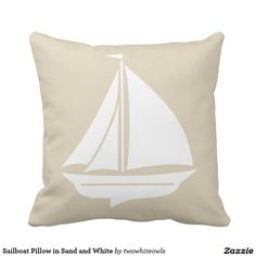Sailboat Pillow in Sand and White