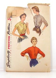 1953 Simplicity Blouse Sewing Pattern 4408 by Nrapture on Etsy, $11.50