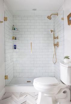 walk in shower, subway tiles, rose gold elements