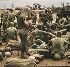 Elements attached to the 4th ID waiting to move to a new AO, War Zone D, Phuoc Vihn. ~ Vietnam War