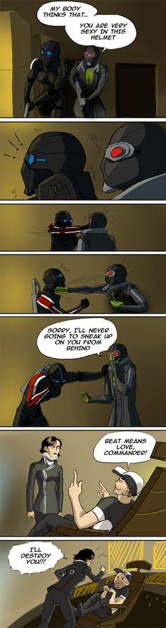 From http://orig11.deviantart.net/1288/f/2012/092/0/7/sexy_helmet_by_arvense-d4ur97i.jpg :D Thane and Shepard Mass Effect