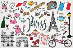 This is a set of 42 vector & PNG format hand-drawn Paris, France sights, monuments, & landmarks clipart. You can use these hand drawn clipart designs for Paris Baguette, French Clipart, Illustrations, Graphic Illustration, Paris Clipart, Eiffel Tower Drawing, Drawing Clipart, Clipart Design, Sketch Notes