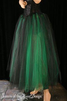 Floor length Adult tutu skirt green black by SistersOfTheMoon, $60.00