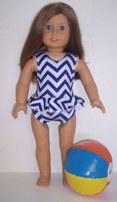 "Blue & White Swimsuit & Beach Ball made for 18"" American Girl Doll Clothes #DorisDollBoutique #DollClothes"