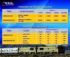 oruro to uyuni train schedule and prices