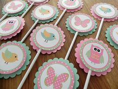 Cupcake Toppers: Pink & Green Woodland Owls Birds and Butterflies - Girl Baby Shower or birthday party decorations. $12,00, via Etsy.