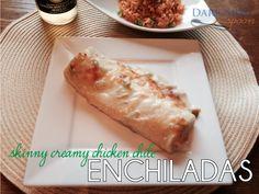 Skinny Creamy Chicken Chile Enchiladas