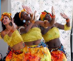 Dancers with the Barbea Williams Performing Company, do a West African celebration dance.