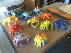 Clay Crabs made by tracing two hands - finished project
