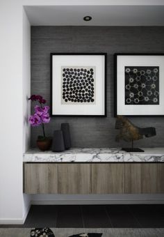 thick slab marble, floating cabinet in entry, Christopher Elliott Design