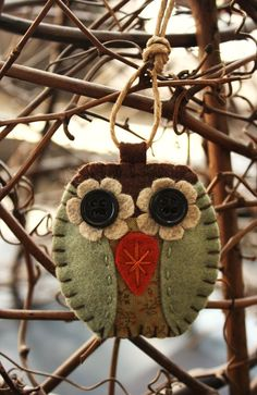 felt owl ornament sage green and brown felt and by urbanpaisley, $11.00