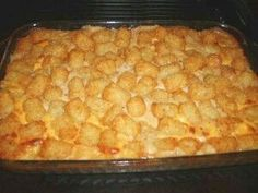 """The Duggars Tator Tot Casserole(Jimbobs Fav) Ingredients: -2lb ground turkey cooked, seasoned, drained -3-2 lbs bag tater tots  -2 cans cream of mushroom  -2 cans evaporated milk -2 cans cream of chicken  Directions: 1. Brown meat, & place in large casserole dish. 2. Cover w/ tater tots. Mix soup & milk together. 3. Pour over top. Bake at 350• for 1 hour. *****Makes 2-9""""×13"""" pans (about 16 servings) Recipe can be cut in half."""