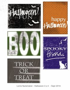 Free 3x4 Halloween Filler Cards from Lorie's Story