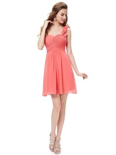 One Shoulder Flowers Watermelon Red Padded Ruffles Bridesmaid Dress #EidelPrecious