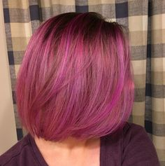 Pink and purple balayage hair. Blunt bob. Pink hair. #pulpriot #overtone Vibrant Purple