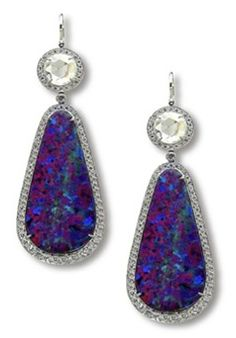 Platinum, Diamond and Opal Earrings - Stephen Russell