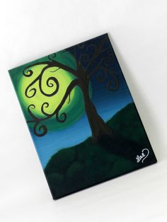 By the Light of the Moon Acrylic Tree Painting by femmesleigh, $20.00