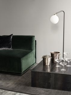 dark green velvet sofa photo by Michael Rygaard for Rue Verte green velvet sofa velvet everything Shop Interior Design, Interior Styling, House Design, Interior Architecture, Interior And Exterior, Living Room Decor, Living Spaces, Dining Room, Rue Verte