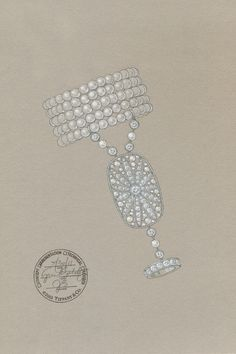 A sketch of a pearl-and-diamond hand ornament from The Great Gatsby Collection.