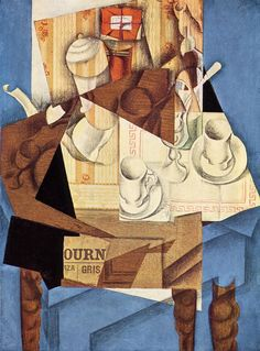 Juan Gris, Breakfast, 1914. Cut-and-pasted paper, crayon, and oil over canvas, 31 7/8 x 23 1/2 in (80.9 x 59.7 cm). Museum of Modern Art - New York.