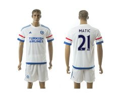 2015-2016 Chelsea #21 MATIC Away White Soccer Jersey