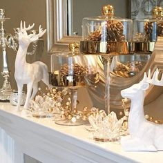 we're loving all of the chic details on holiday mantel! Styled with our Woodland Deer , Crystal Lotus… Christmas Fireplace, Christmas Mantels, Noel Christmas, Christmas Centerpieces, Xmas Decorations, Elegant Christmas, White Christmas, Christmas Interiors, Luxury Christmas Decor