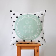 Mint and black geometric, modern decorative pillow cover with dots & good morning sunshine print.    This beautiful pillow will make a perfect