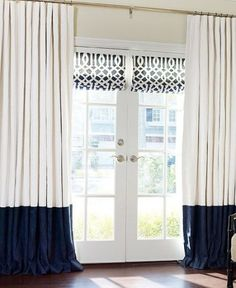 46 ideas for french door blinds drapery panels French Door Curtains, Curtains With Blinds, Panel Curtains, Lengthen Curtains, Bedroom Curtains, Tall Window Curtains, Two Tone Curtains, Cream Curtains, Navy Curtains